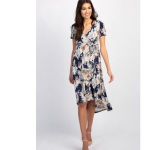 Navy floral maternity wrap midi dress